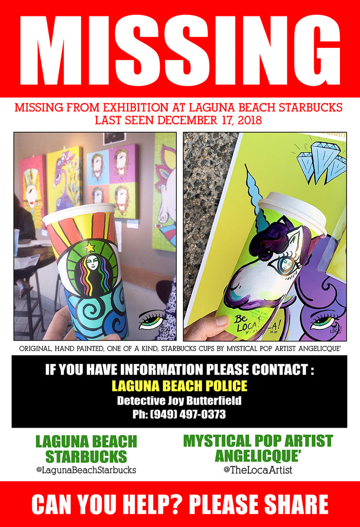 MISSING ORIGINAL ART! Last Seen on exhibit @Laguna Beach Starbucks