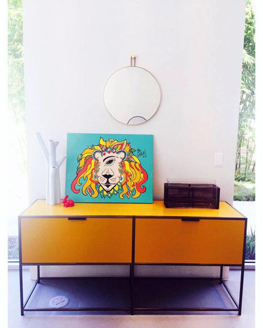 Ligne Roset Dita with Ratsafareye Lion by Mystical Pop Artist Angelicque'
