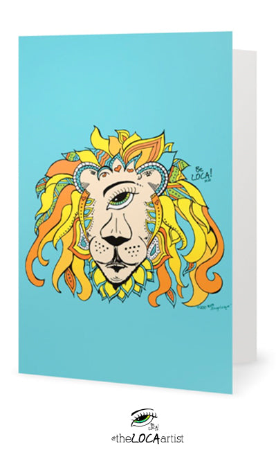 Leo the RastafarEYE lion | EYEconic Art Cards by Angelicque'