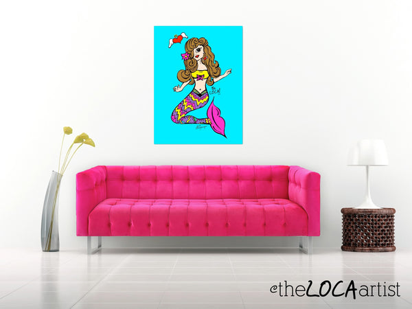 Bella Brunette Mermaid Wishes by Angelicque' | Gallery Canvas Print