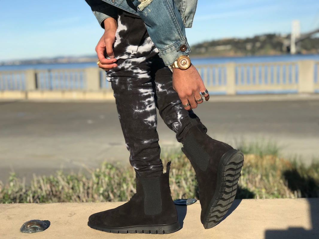 black brushed suede chelsea boots in san francisco