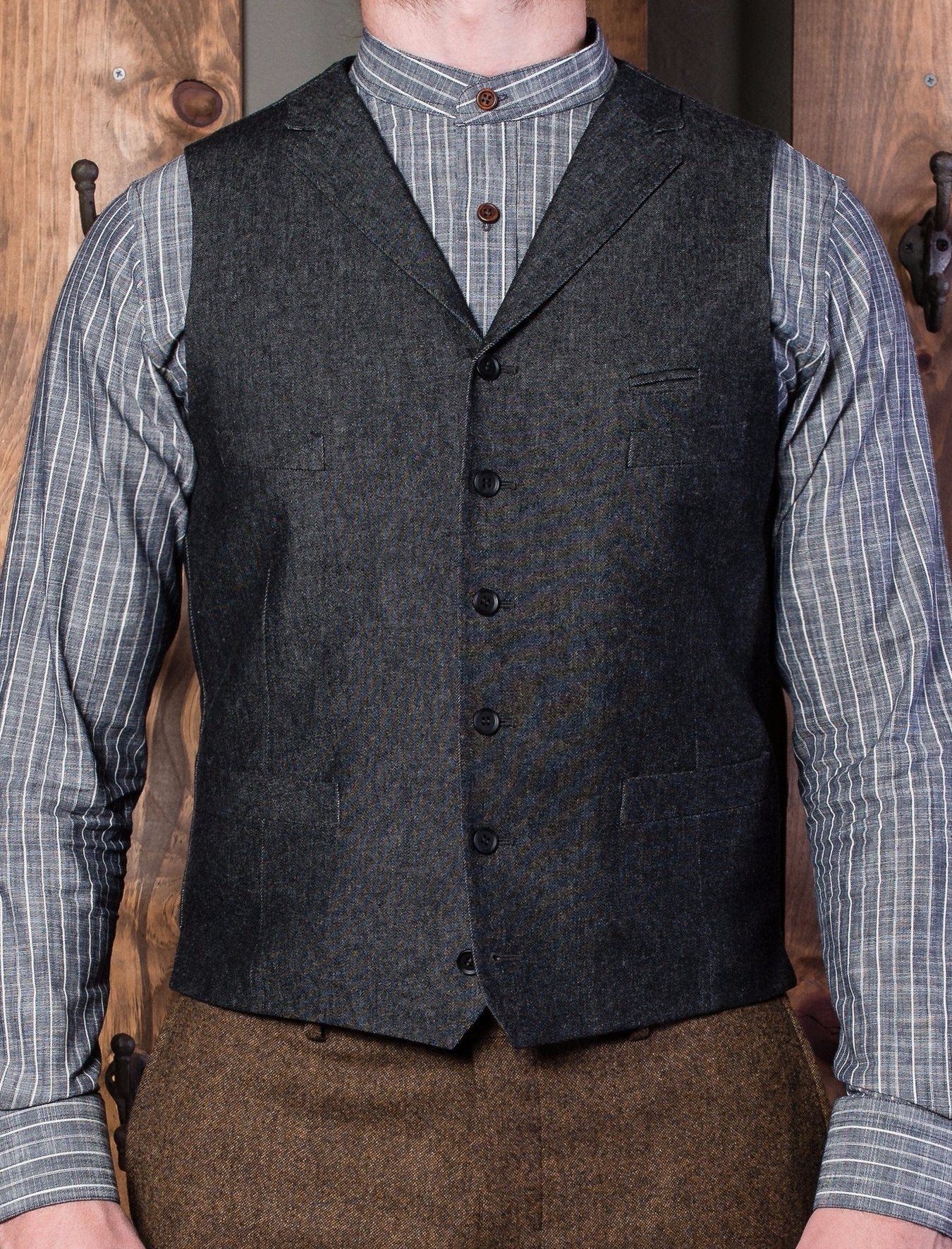 Bykowski Tailor & Garb Gatsby peaky blinders Made in USA lapel vest heritage clothing Handcrafted Edwardian Denim Casual 1910's prohibition  1800's slim tailored fit waistcoat