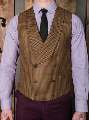 Bykowski Tailor & Garb peak blinders tailored fit slim fit lapel vest Gatsby Edwardian double breasted waistcoat double breasted Dapper Barbershop 6 button 1920's 1910's 1800's