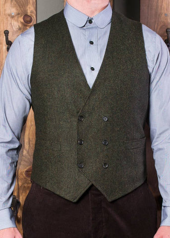 Bykowski Tailor & Garb Wool slim fit tailored fit prohibition peaky blinders heritage clothing Gatsby English Tweed Dapper double breasted waistcoat Edwardian Barbershop 6 button 1930's 1920's 1910's Winter tweed Rustic Made in USA Handcrafted