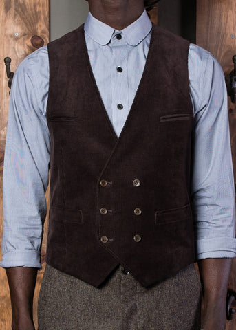 Bykowski Tailor & Garb peaky blinders Gatsby Vest tailored waistcoat slim fit Made in USA heritage clothing Edwardian double breasted Dapper Corduroy brown Barbershop 1930's 1910's prohibition