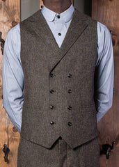 Bykowski Tailor & Garb Edwardian double breasted waistcoat Dapper Barbershop 1930's 1910's 1800'sGatsby peaky blinders prohibition Made in USA lapel vest heritage clothing Handcrafted English Tweed slim tailored fit