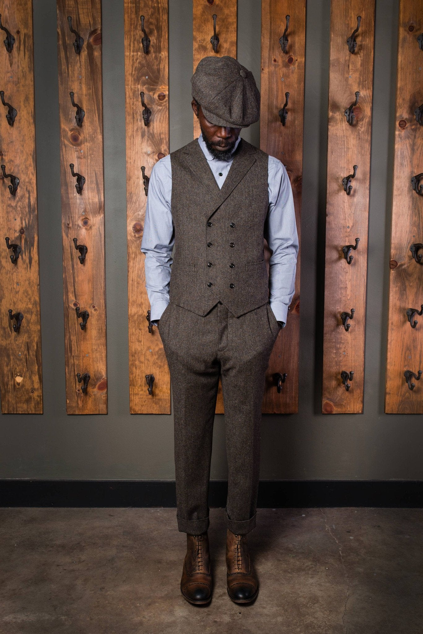 Bykowski Tailor & Garb Edwardian double breasted waistcoat Dapper Barbershop 1930's 1910's 1800's Gatsby peaky blinders prohibition  Made in USA lapel vest heritage clothing Handcrafted English Tweed slim tailored fit