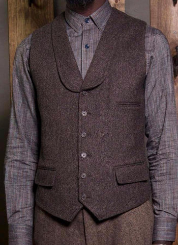 Bykowski Tailor & Garb Wool Victorian tailored wasitcoat slim fit prohibition peaky blinders lapel vest herringbone heritage clothing English Tweed Edwardian Casual 1920's 1910's vintage inspired tailored waistcoat Shawl Lapel Rustic Made in USA Handcrafted