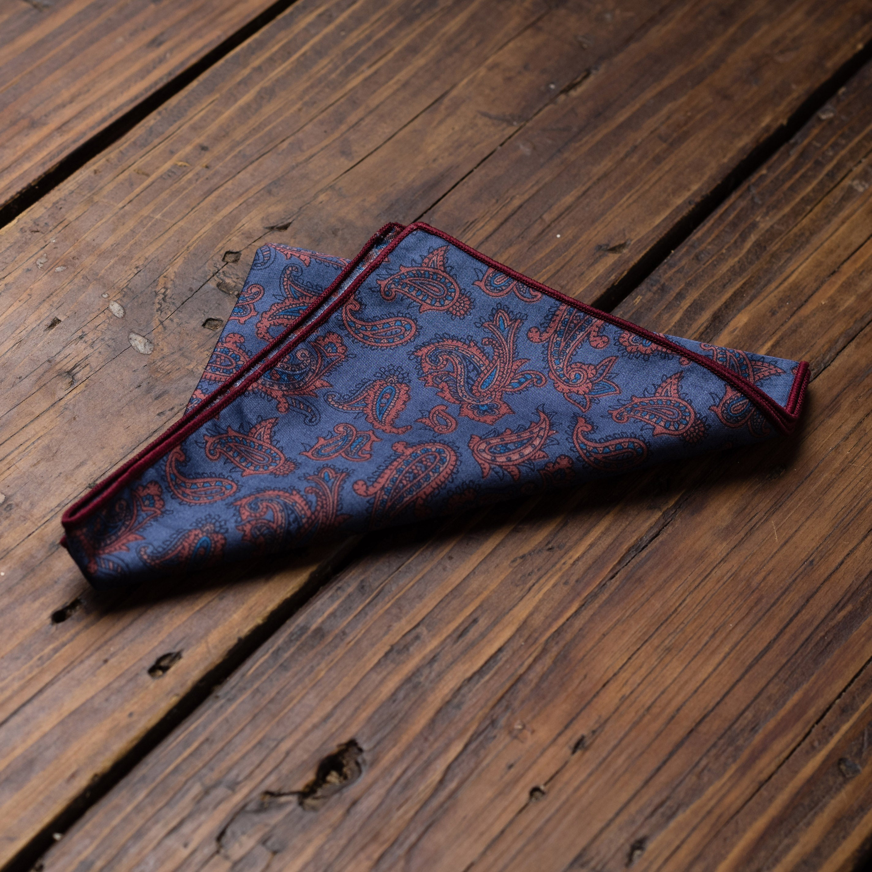 Blue Rust Paisley Pocket Square