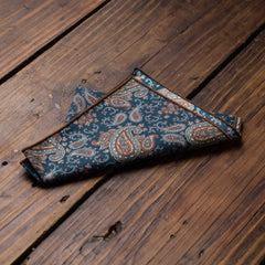 Dark Green Brown Paisley Pocket Square