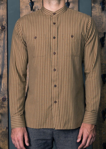 Banded Collar Hand-Loom Shirt