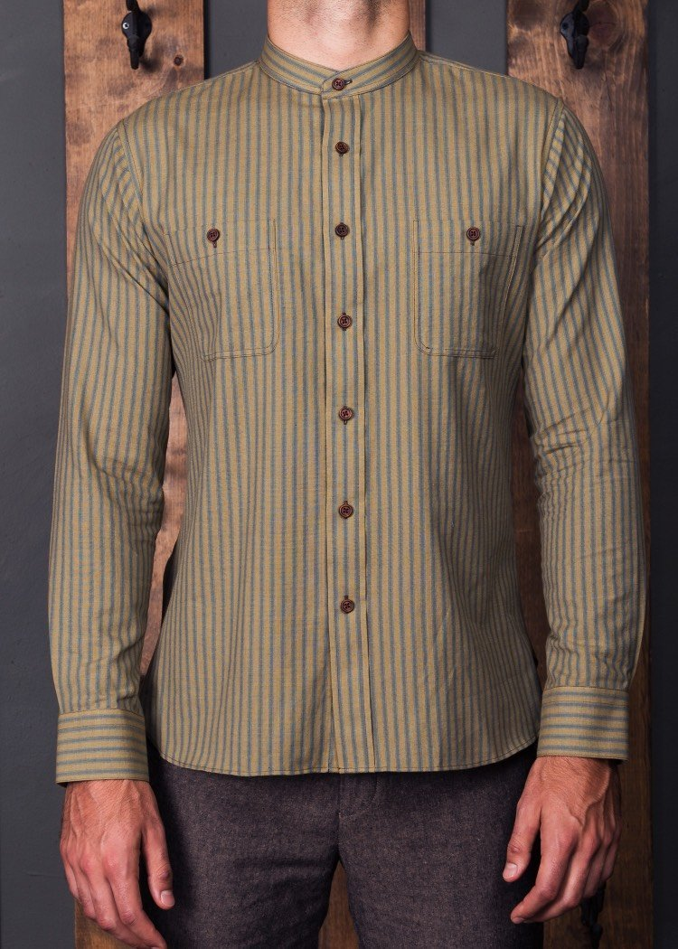 Banded Collar Tan/Light Blue Ticking Loomed Shirt