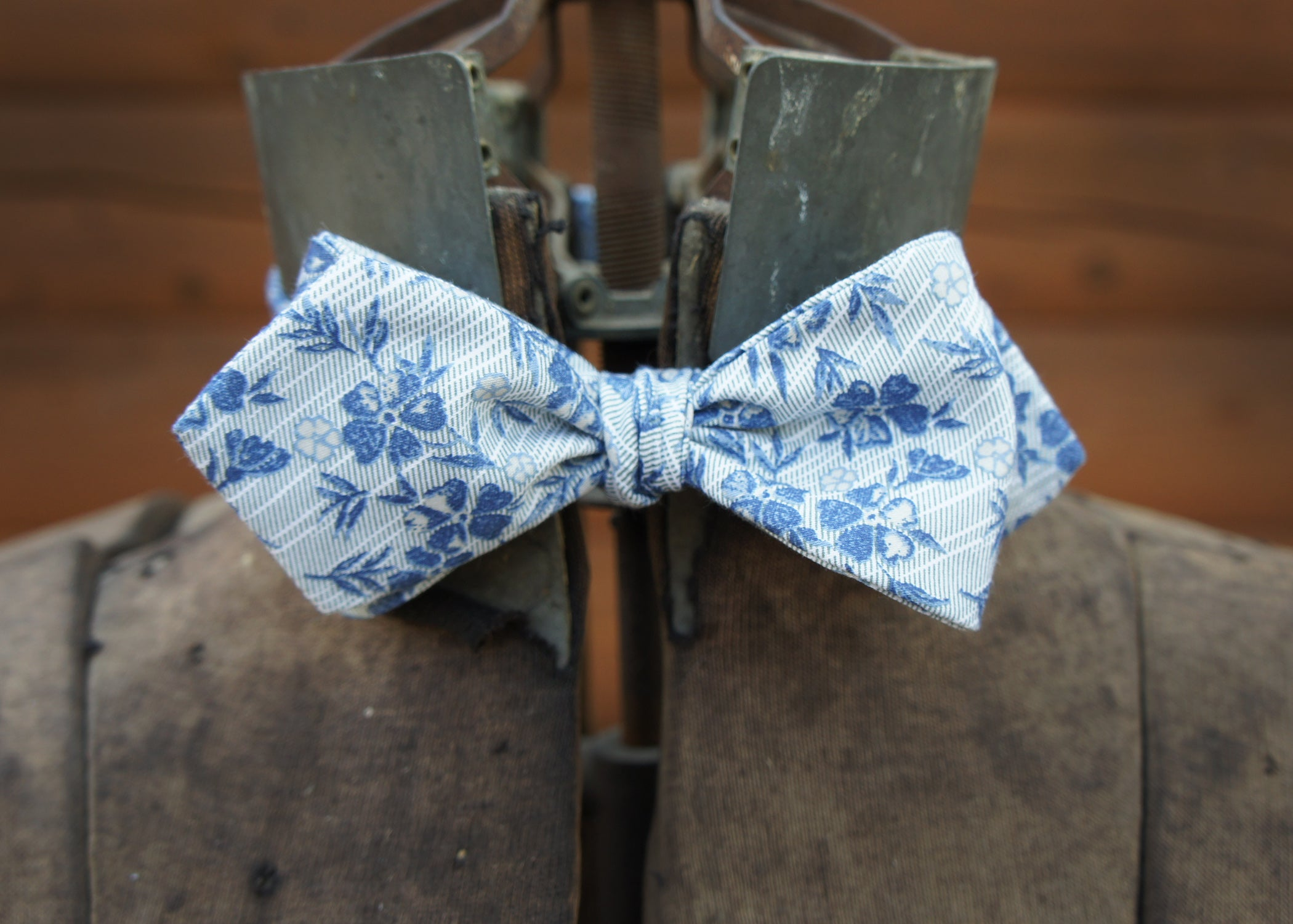 Light Blue with Blue Floral Diamond Bow Tie