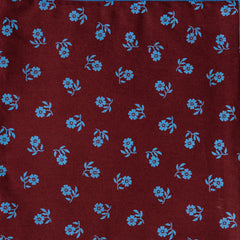 Reversible Burgundy with Blue Flowers Pocket Square