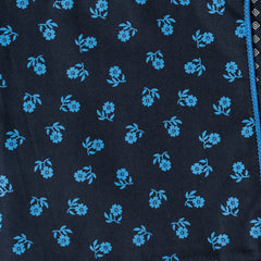 Reversible Navy with Light Blue Flowers Pocket Square