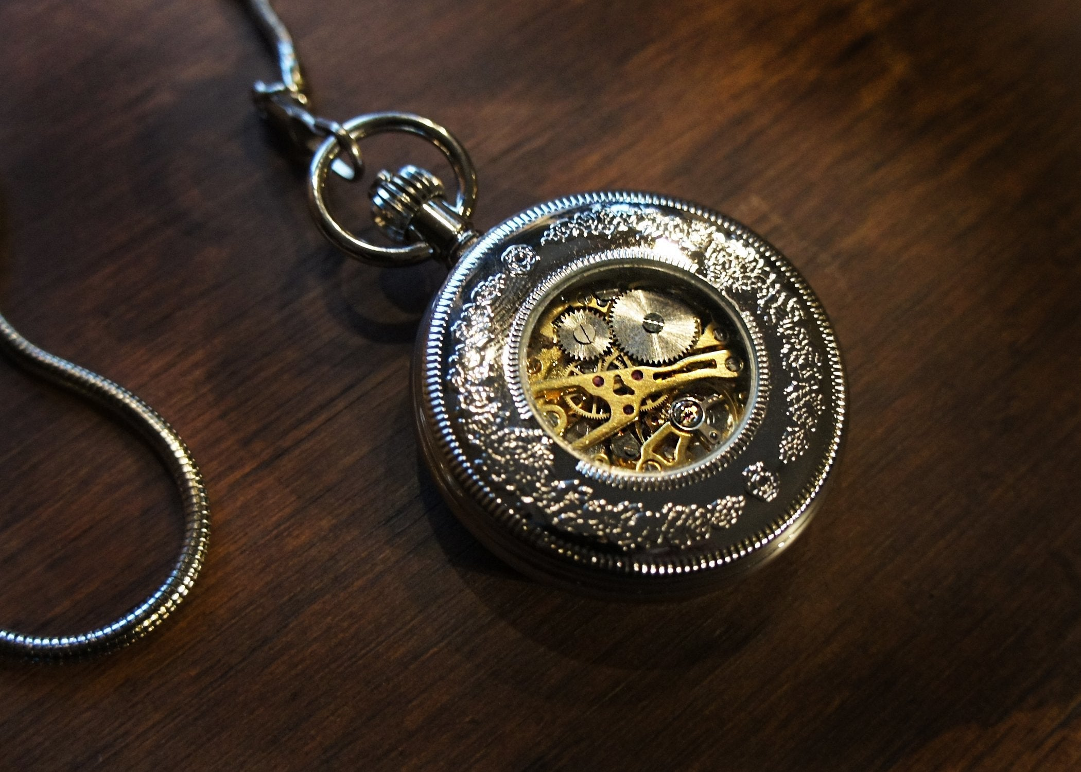 Silver Window Skeleton Pocket Watch