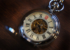 Silver  Scroll Work Large Crest Pocket Watch