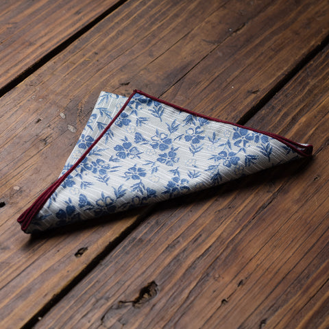 Light Blue with Blue Floral and Burgundy Trim Pocket Square