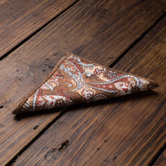 Rust Paisley Pocket Square