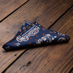 Blue Paisley Bandana Pattern Pocket Square