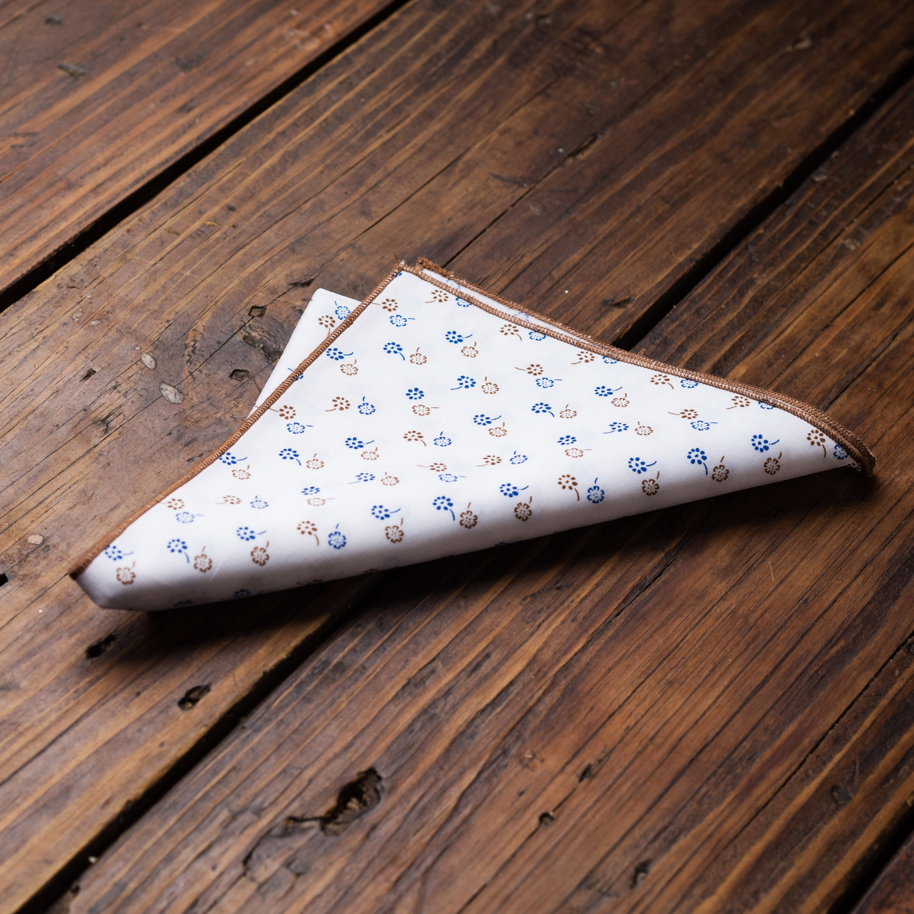 Blue and Tan Flowers Pocket Square