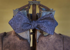 Black Floral Design Cotton Bowtie- authentic drape of an Edwardian, 1920's, 1930's bow and are easier to tie unlike most bow ties on the market. Made in USA. Bykowski Tailor & Garb