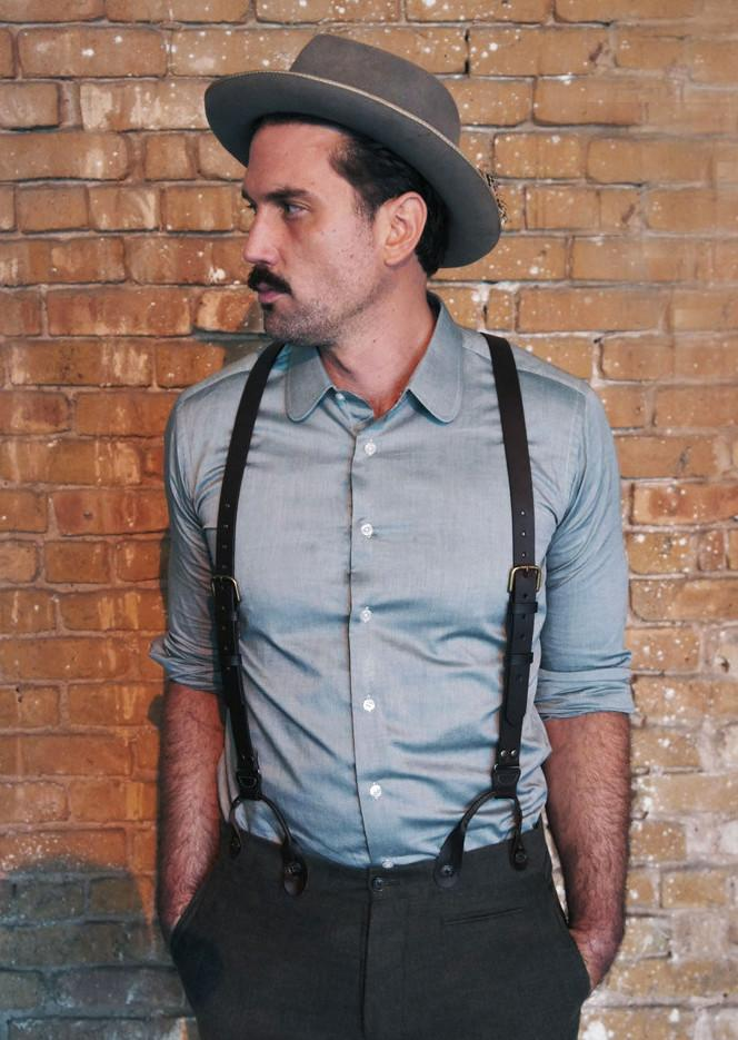 Black Leather Suspenders - Bykowski Tailor & Garb