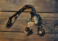Black & Tan Floral Bowtie