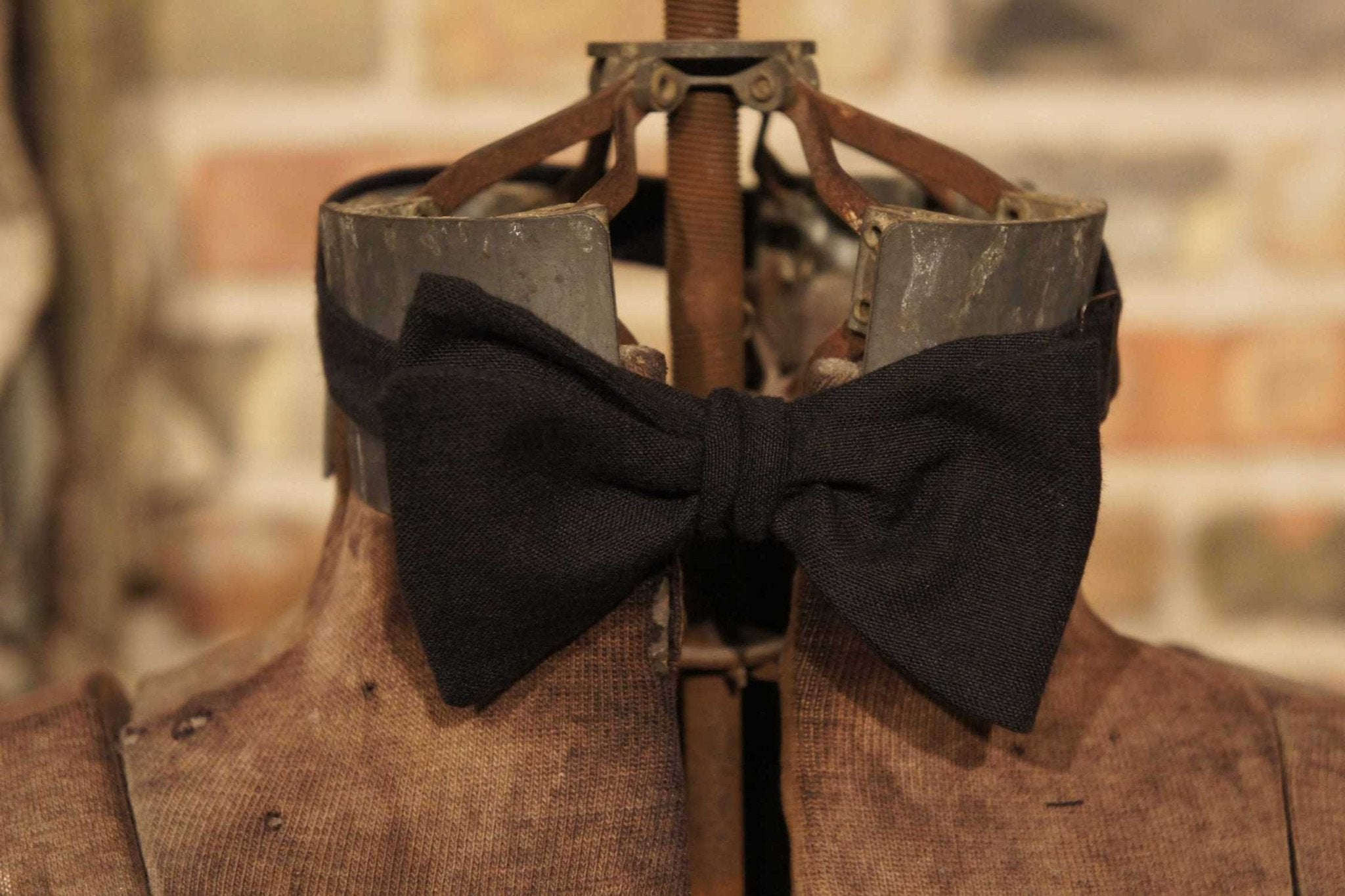 Black Cotton - Edwardian 1920's 1930's dandy cotton bowtie BYBT-HL04 1 - Bykowski Tailor & Garb