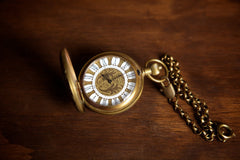 Brass Window Pocket Watch