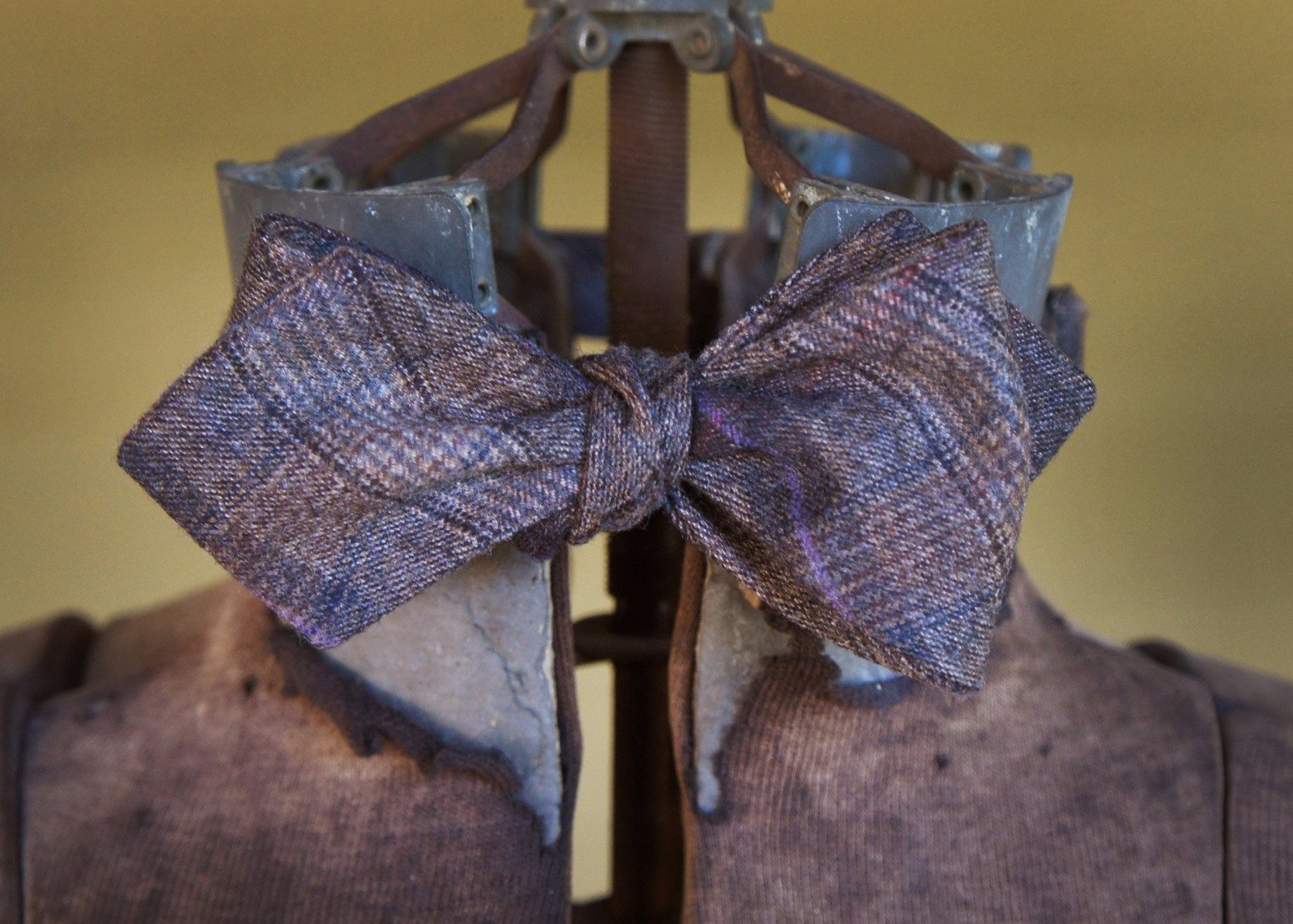 Brown Tan Purple Check Bowtie