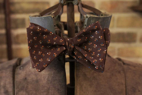 Brown Mini Floral - Edwardian 1920's 1930's dandy cotton bowtie BYBT-vin028 1 - Bykowski Tailor & Garb
