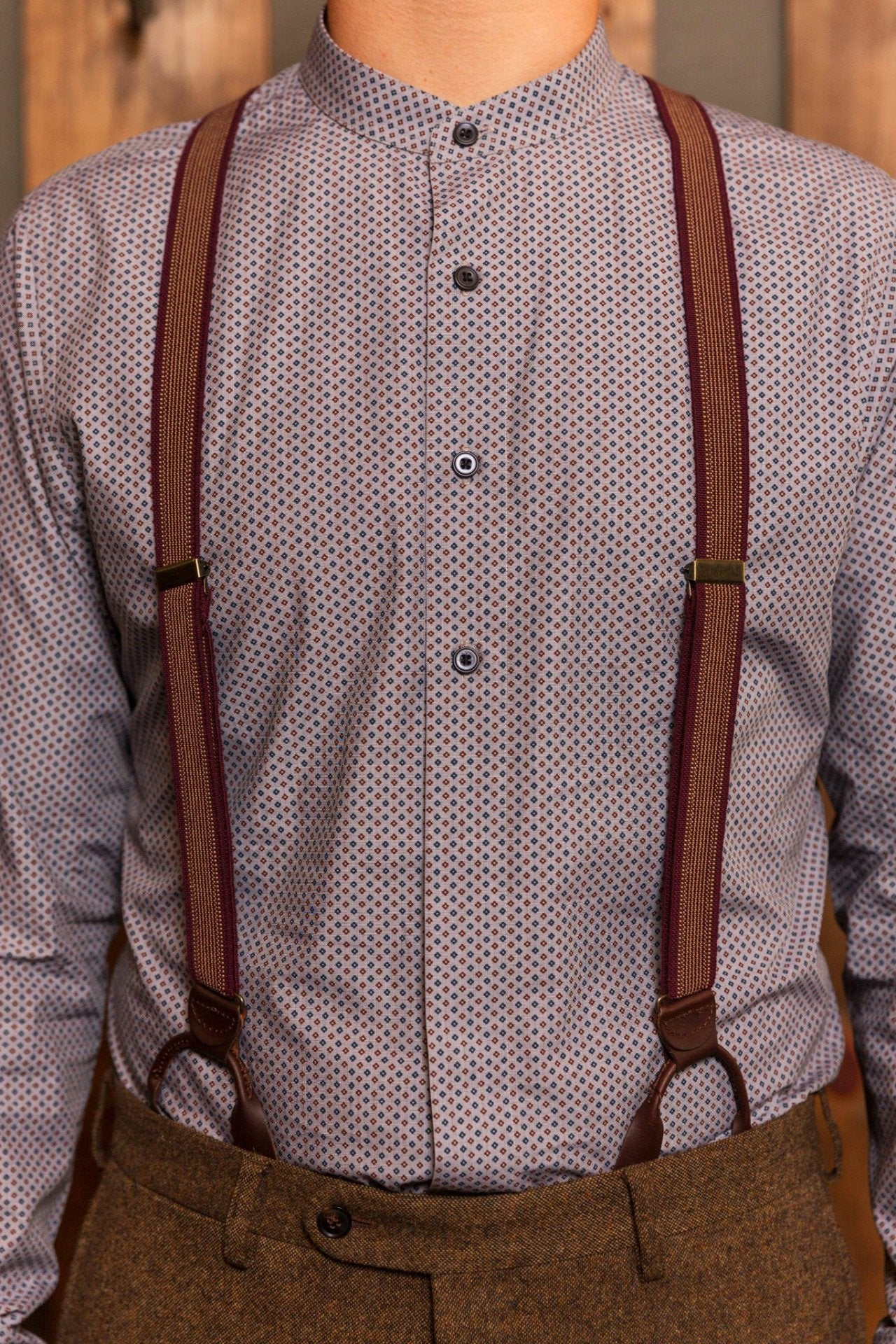 Burgundy and Gold Suspenders