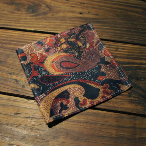 Burgundy Brown Large Paisley Pocket Square
