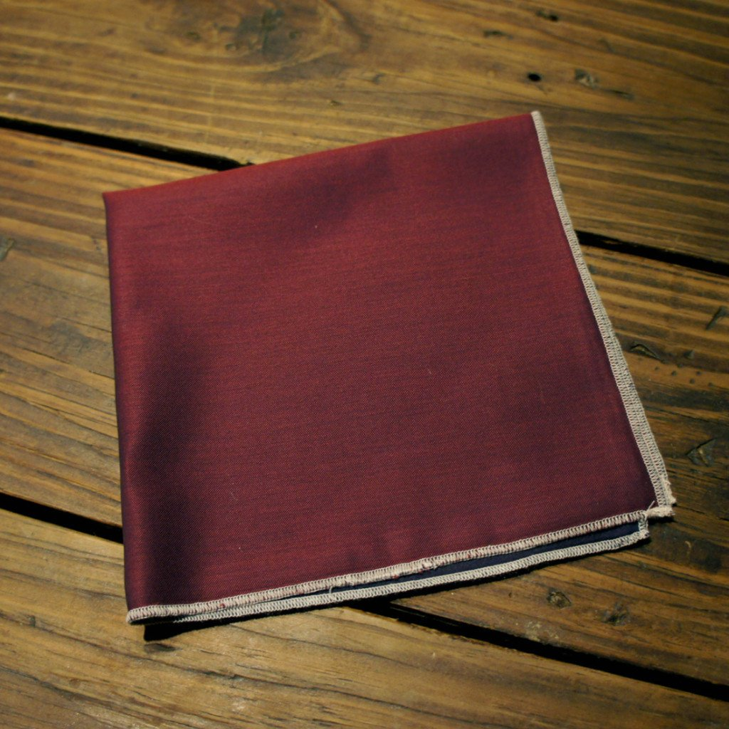 Reversible Burgundy Navy Pocket Square