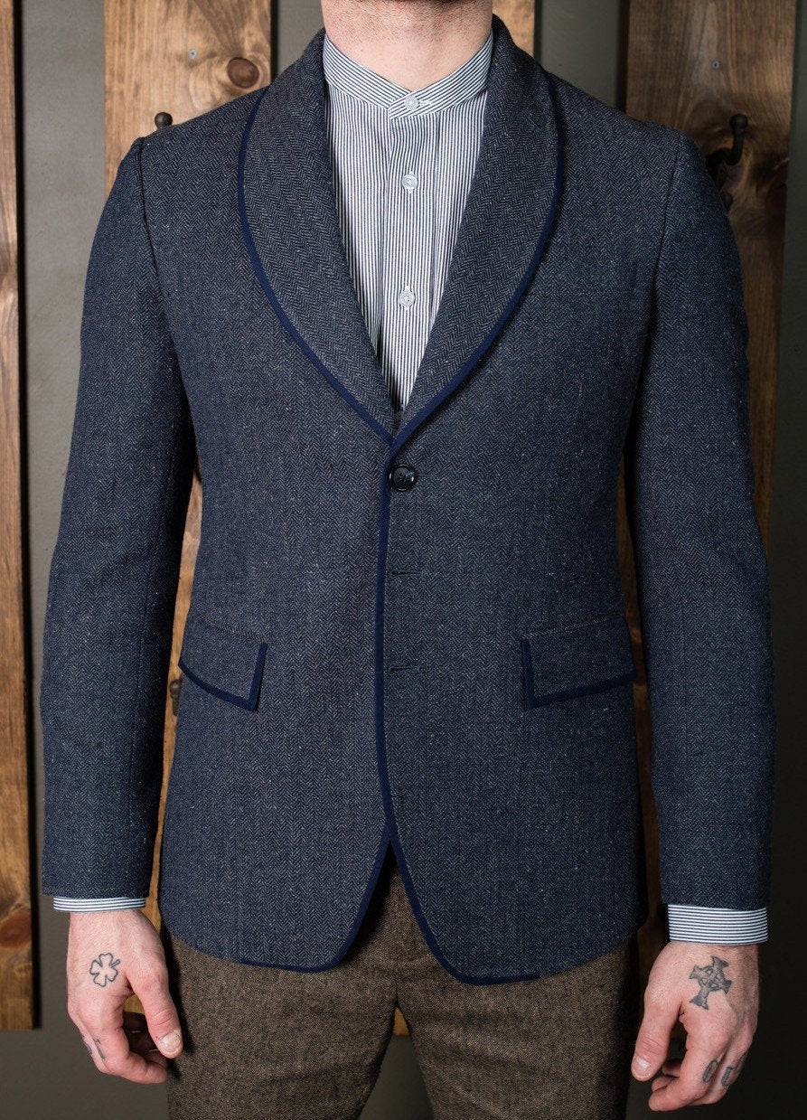 Casual Smoke jacket - Bykowski Tailor & Garb Shawl Lapel tailored fit vintage inspired Wool prohibition herringbone heritage clothing Gatsby Edwardian English Tweed Dapper 1920's 1910's