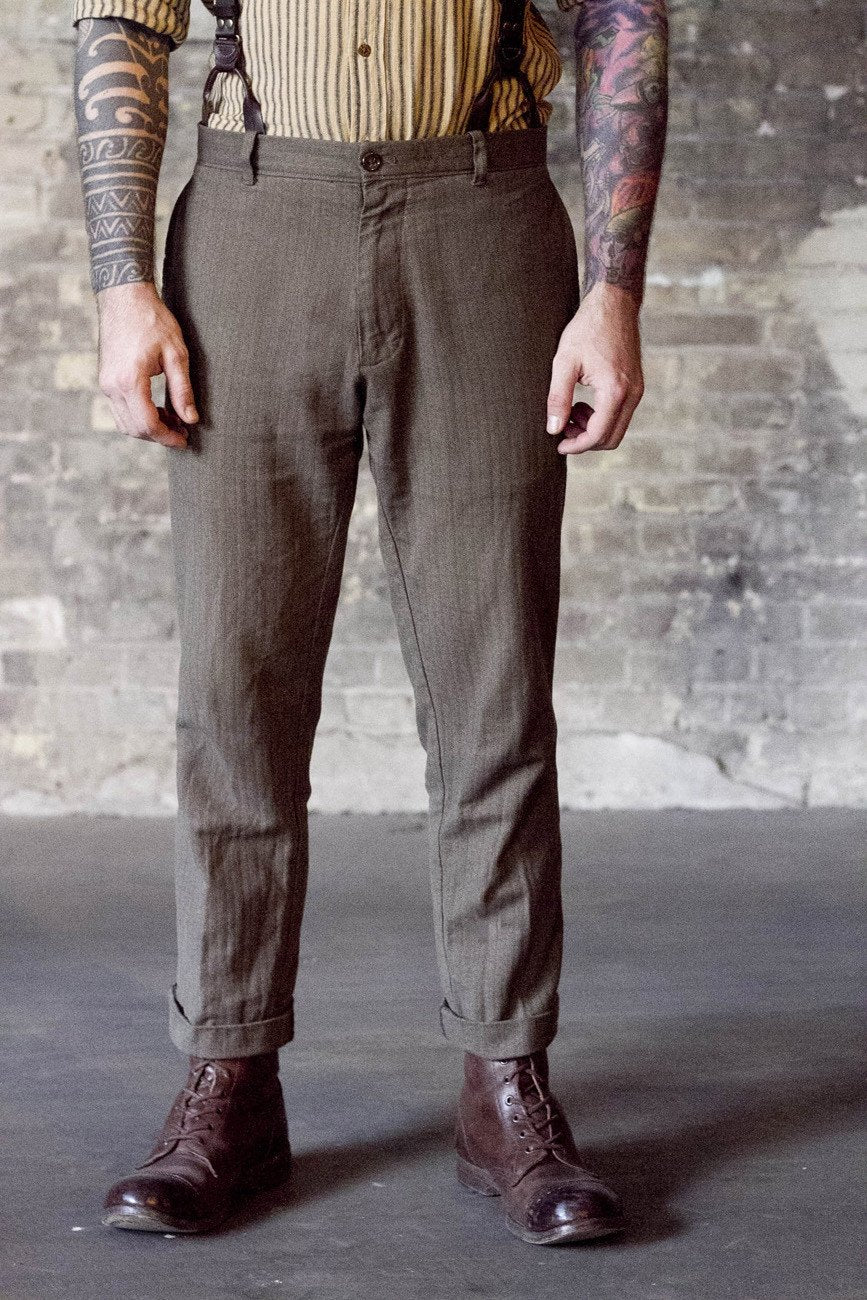 Casual Trousers - Bykowski Tailor & Garb suspenders prohibition Railroad Edwardian Denim Casual 1930's 1920's 1910's vintage inspired Rustic Made in USA Handcrafted