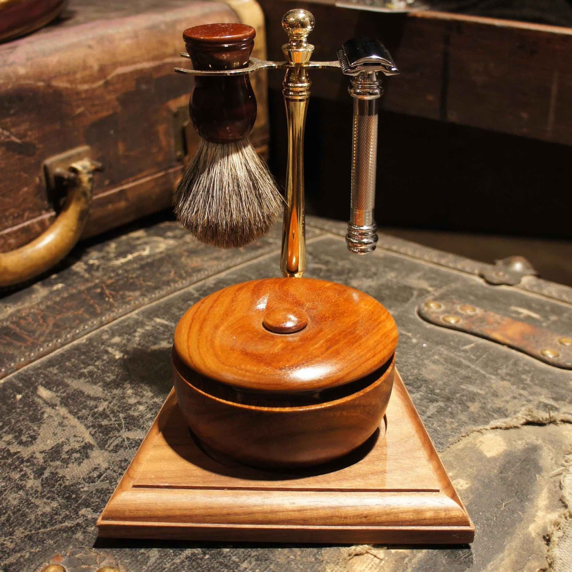 Chrome and wood shave stand - Bykowski Tailor & Garb