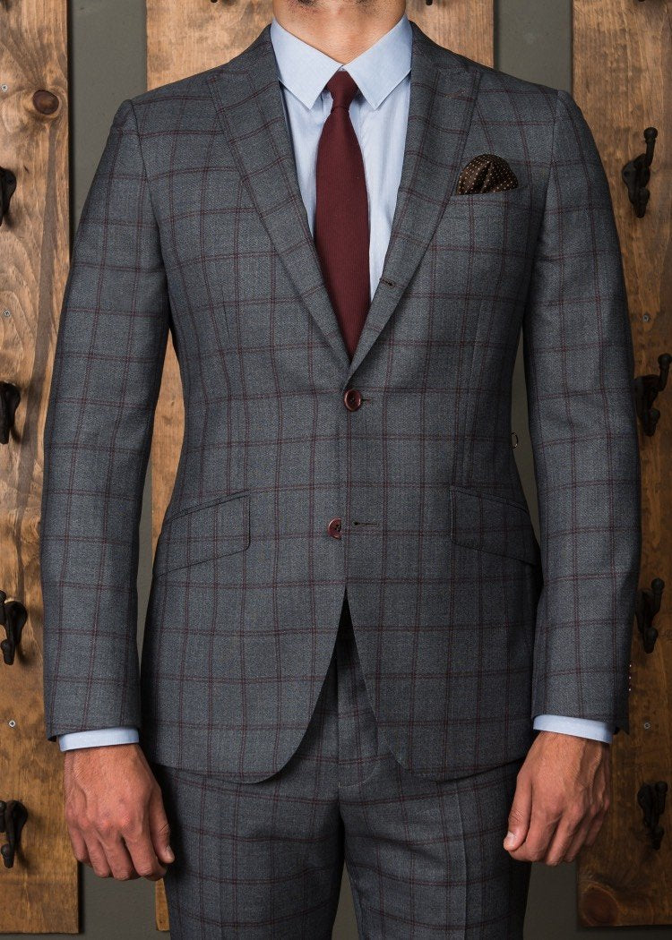 Three Button Rollover Suit Grey with Burgundy Check