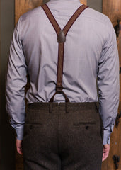 Bykowski Tailor & Garb classic notch back trousers English Tweed Wool vintage inspired suspenders tailored fit slim fit prohibition Rustic peaky blinders Made in USA herringbone heritage clothing Edwardian Dapper Barbershop 1920's 1910's
