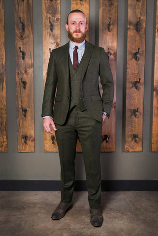 Classic Peak Tweed Suit-Bykowski Tailor & Garb Green tailored fit slim fit Wool vintage inspired prohibition peaky blinders high armholes English Tweed Gatsby Edwardian Classic Dapper 1930's 1920's Vintage tweed Rustic Made in USA Handcrafted