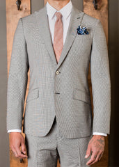 White/black Classic Peak Slant Pocket Suit