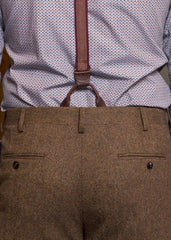 Bykowski Tailor & Garb Classic Trousers Wool suspenders tailored fit slim fit prohibition heritage clothing English Tweed Dapper brown tweed Made in USA Handcrafted Classic