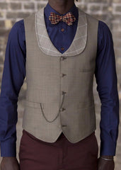 Bykowski Tailor & Garb Vest Wool slim fit tailored fit tailored wasitcoat waistcoat Made in USA lapel vest houndstooth Handcrafted Edwardian Dapper Barbershop 1920's 1910's