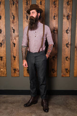 Bykowski Tailor & Garb Cossack Trouser vintage inspired suspenders tailored fit slim fit Railroad prohibition heritage clothing Gatsby Edwardian Dapper Casual 1930's 1920's 1910's 1800's Made in USA Handcrafted Denim
