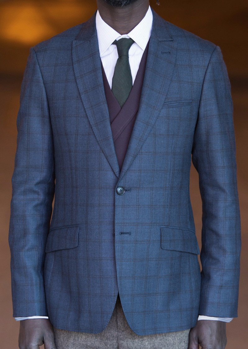 Curved Peak jacket - Bykowski Tailor & Garb Handcrafted Wool Windowpane tailored fit vintage inspired prohibition Made in USA Edwardian Dapper Classic 1930's 1920's 1910's