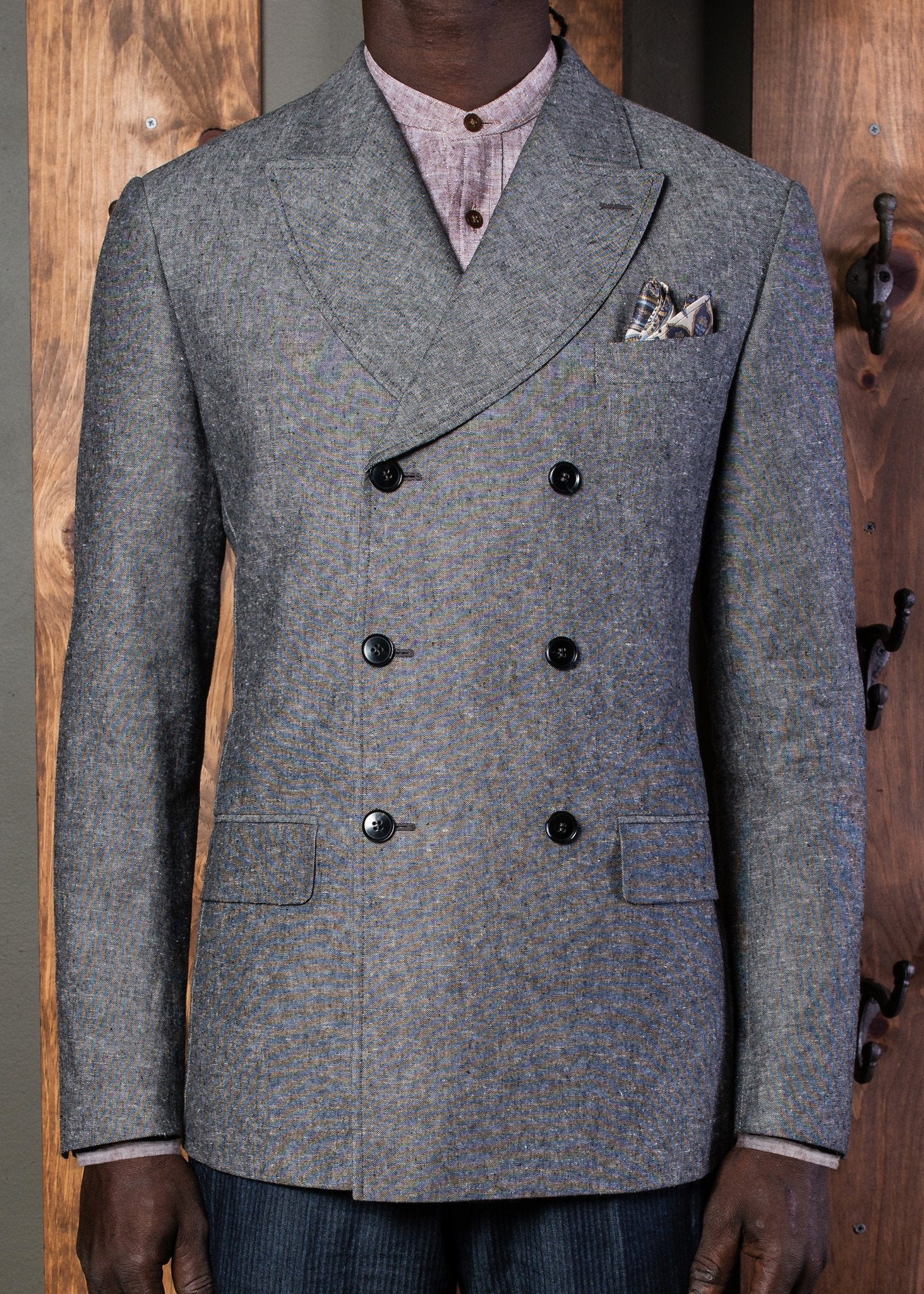 Curved Peak Lapel 3x6 Double Breasted Jacket