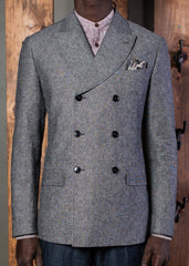 Curved peak lapel double breasted jacket-Bykowski Tailor & Garb Victorian Wool vintage inspired tailored fit Rustic prohibition Railroad peaky blinders Linen heritage clothing Edwardian Dapper Casual 1930's 1920's 1910's 1800's Curved Peak Lapel double breasted jacket Made in USA Handcrafted