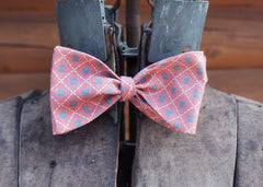 Pink with Blue Heart Flowers Bow Tie
