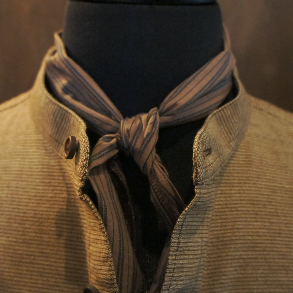 Tan and Blue Stripe Cravat